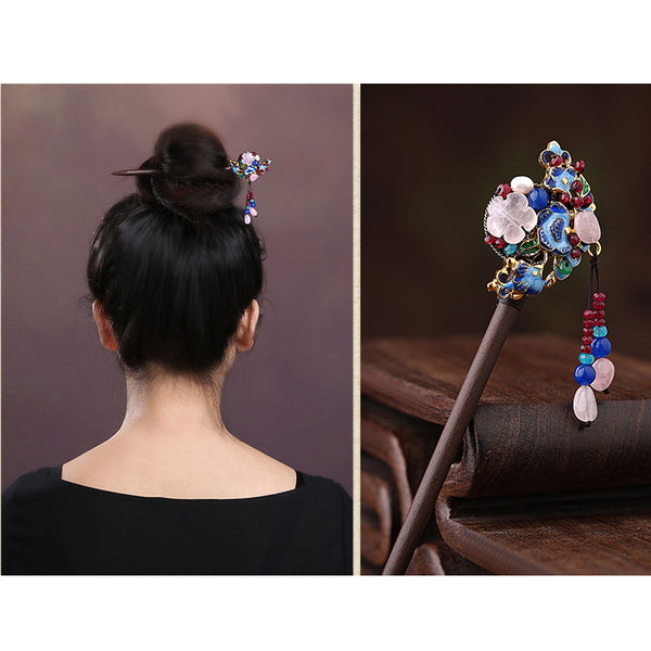 HANDMADE Women Hair Pin Flower crystal cloisonné Tassel Wood Hairpin Stick