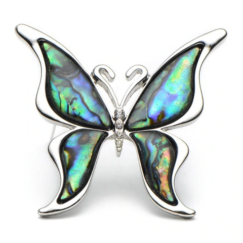 abalone shell butterfly brooch pin