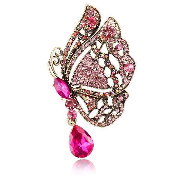 butterfly brooch pin with pink rhinestone crystal
