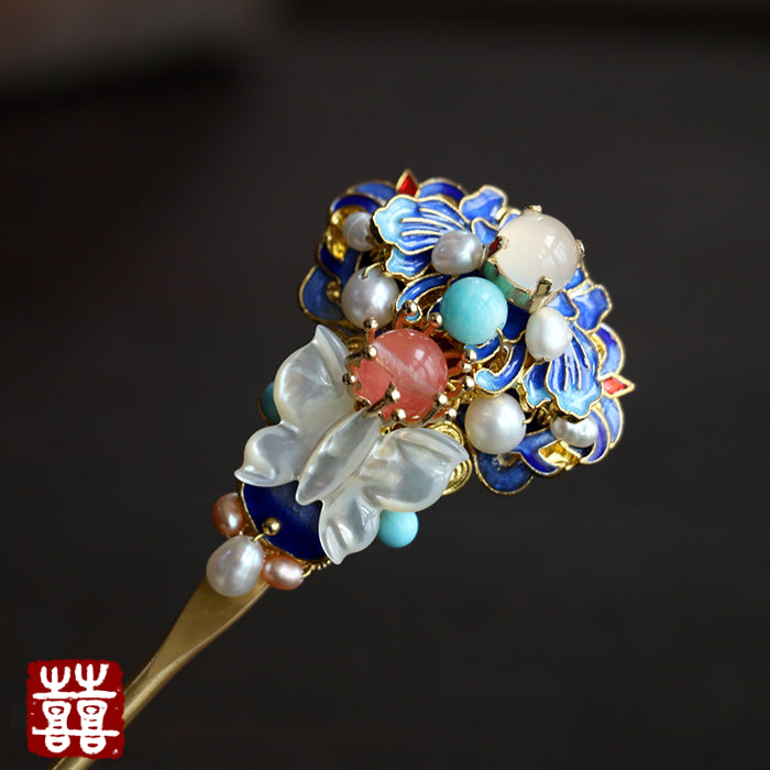 Butterfly hair pin with enamel cloisonne flowers