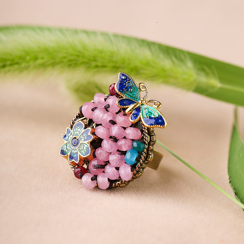butterfly ring with agate beads and enamel cloisonne