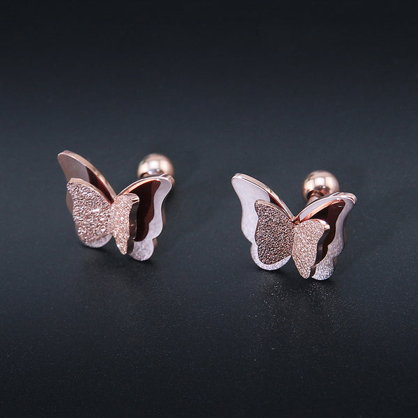 Butterfly earrings Stud earrings for women Cheap earring  (frosted surface)