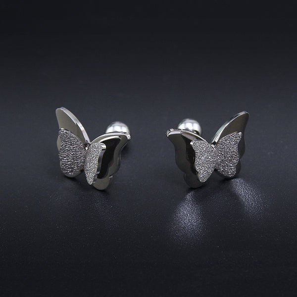 Butterfly earrings Stud earrings for women Cheap earring  (silver, side view)