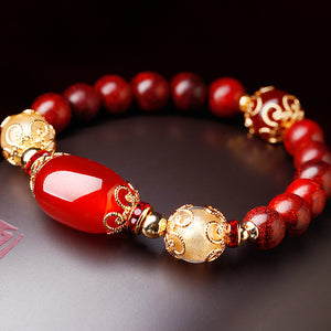charm bracelet for women, with red agate beads and stained glass. Elegant, beautiful.