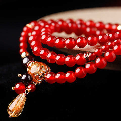 charm stack bracelet for women, with red agate and red garnet beads