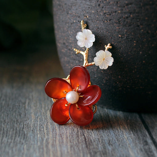 HANDMADE Women Brooch Scarf Pin Sakura Flower Agate Pearl 24K gold plated NEW