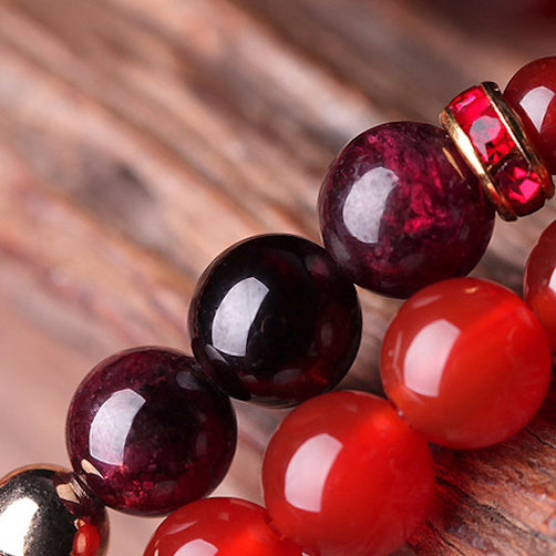 close up on the red garnet beads