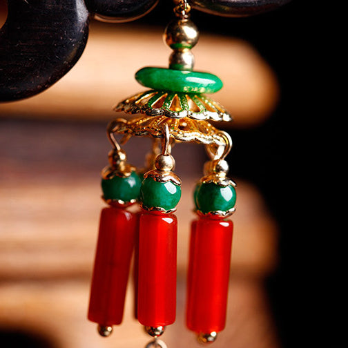 tassels with red agate and green jade