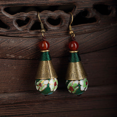 dangle earrings with enamel cloisonne and red agate beads