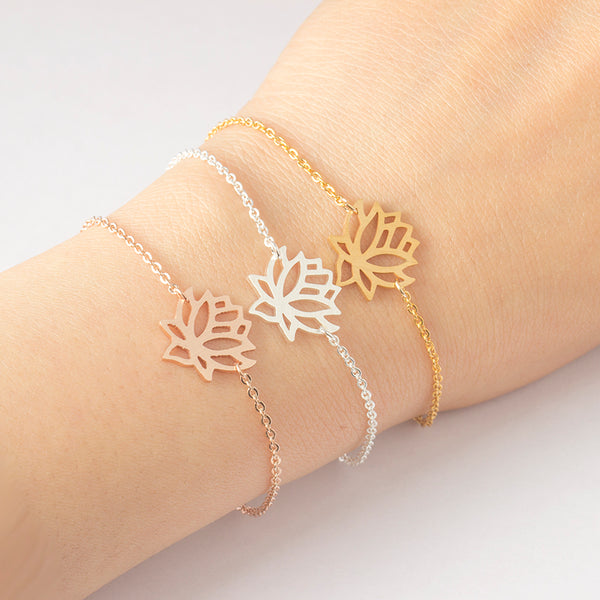 Zen Pond Lotus Flower Bracelet on model
