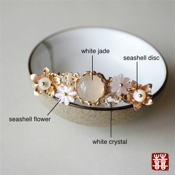 details of the barrette: made of white jade, seashell, white crystal, seashell and quality alloy