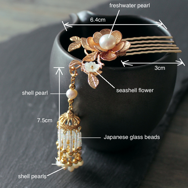 details: this kanzashi is made of quality metal parts, shell pearls, seashell, and glass beads