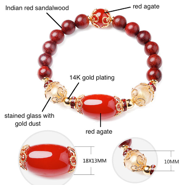 details of the bracelet: it is made of red agate, stained glass and Indian red sandalwood