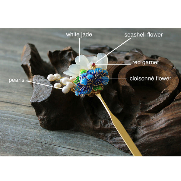 this hair pin is made of high quality alloy, white jade, garnet, seashell, pearls and enamel cloisonne