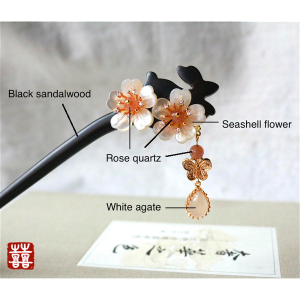 This hair accessories is made of black sandalwood, rose quartz, agate and seashell