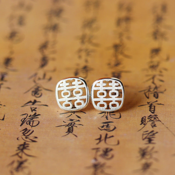 Women jewelry Earrings Double Happiness 925 Sterling Silver Ear Studs