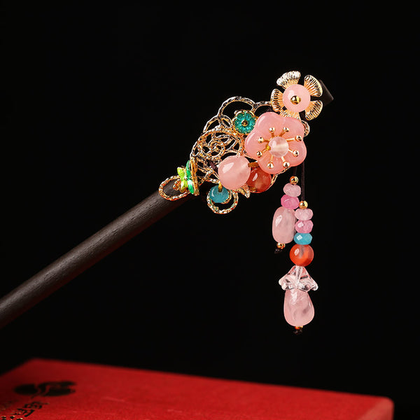 Pink flower hair sticks in Asian style design
