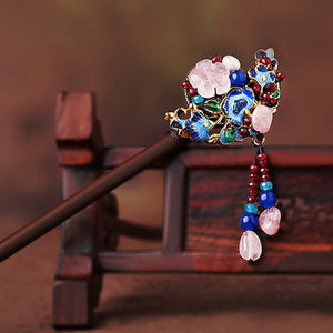 flower hair sticks with enamel cloisonne