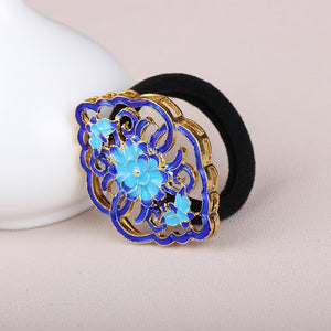 hair scrunchies with blue flower enamel cloisonne
