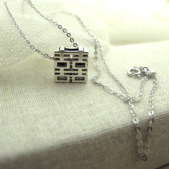 full view of the necklace, square pendant