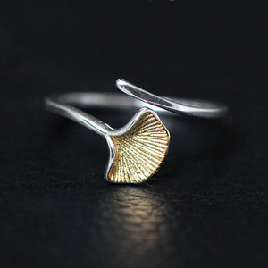 Sterling silver rings for women, in shape of a Japanese ginkgo leaf. Plated with 24K gold