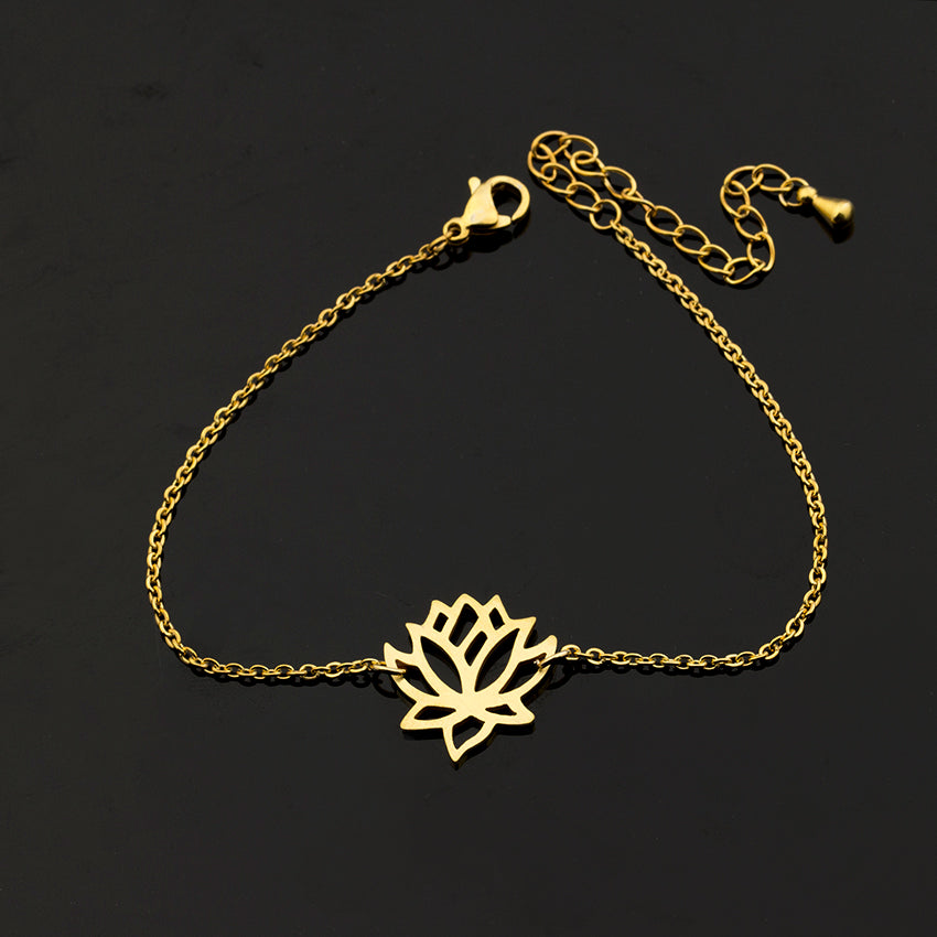 Zen Pond Lotus Flower Bracelet gold