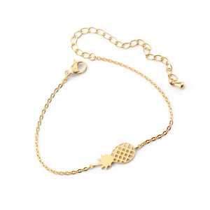 pineapple charm bracelet gold color