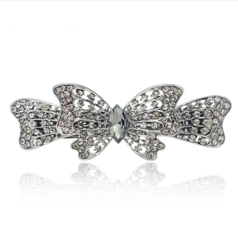 Ribbon butterfly hair clips hair barrettes (gray)