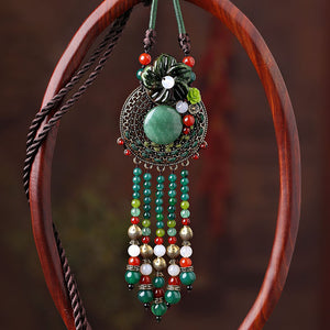 Long necklace for women, with green jade, agate and long tassels