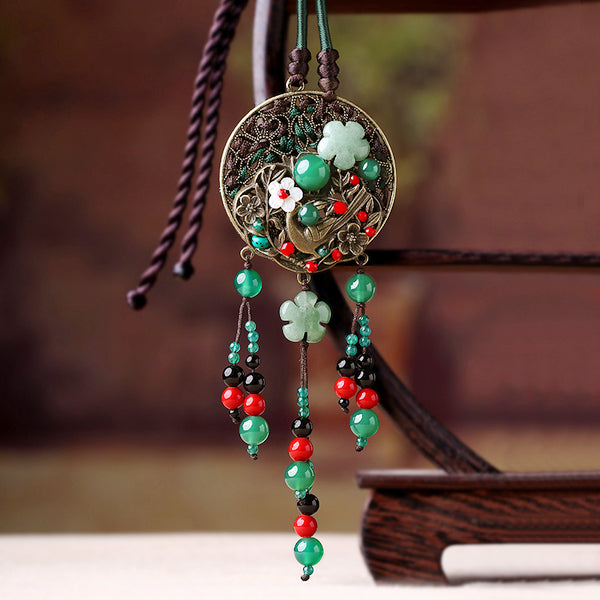 green agate long necklace for women, wit long tassels