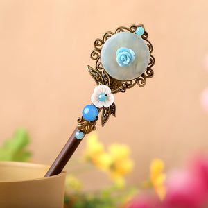 green jade blue rose hair stick