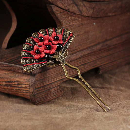Women Hairpin Japanese Fan Black Agate cinnabar lacquer Hair Pin Stick Fork New