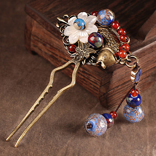 hair fork with glass beads, agate and seashell decorations