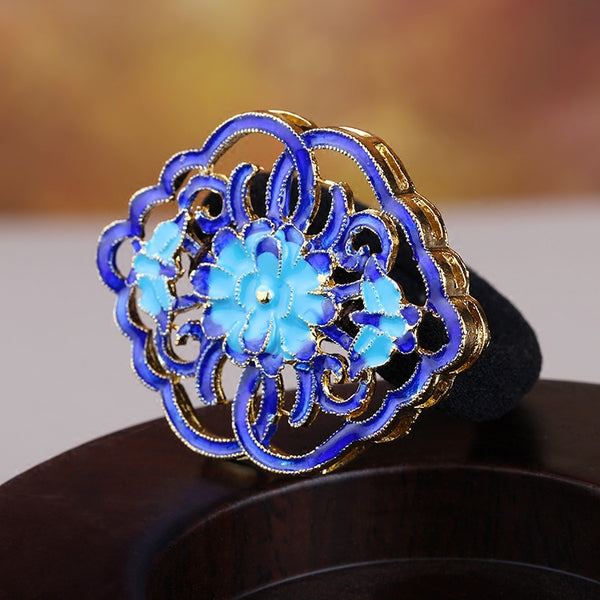 beautiful blue flower enamel cloisonne