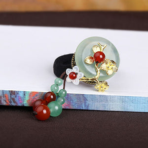 green jade red agate hair scrunchies