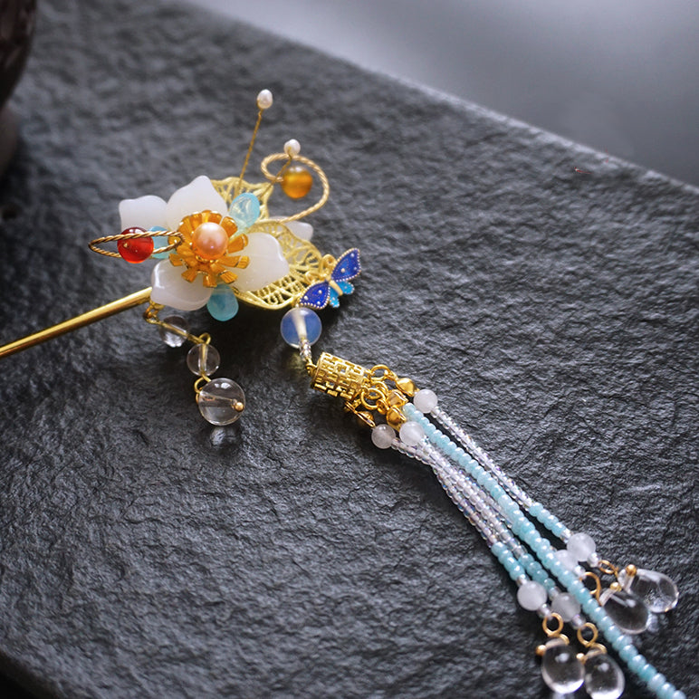 hair stick with agate flower and long tassels