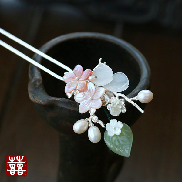 Green jade pink flower hair sticks