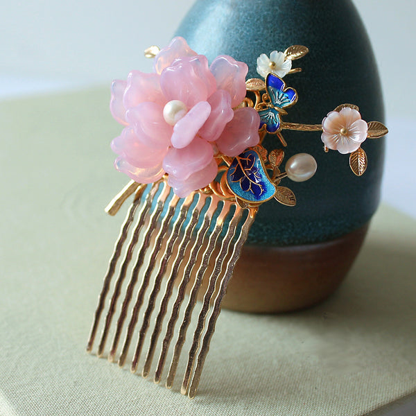 HANDMADE Women Hair Pin Comb Pink Flower Pearl Chinese enamel cloisonné