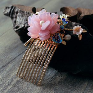 kanzashi hair comb with pink glass flower