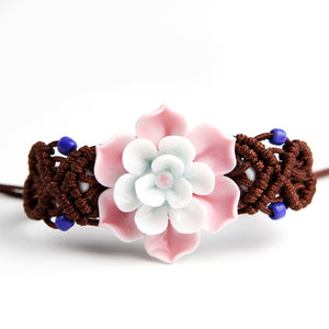 Porcelain lotus flower bracelet for women