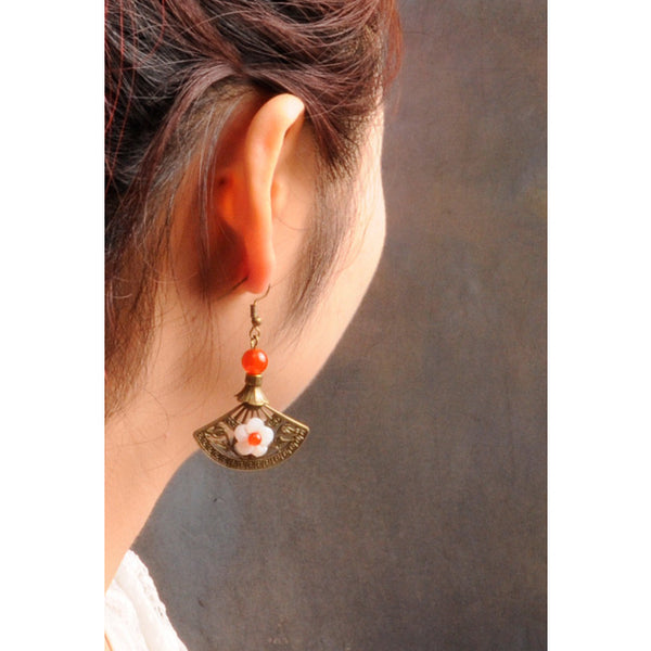 model demonstration, with the earrings dangling from the ear lobe.