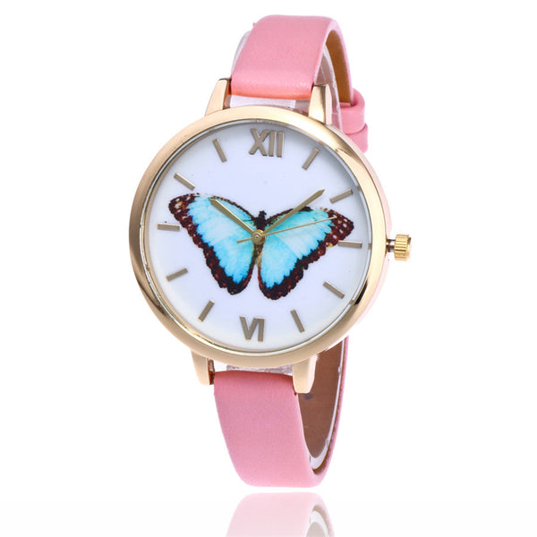 Blue Emperor -- Women's Butterfly Watches (pink)