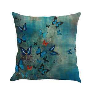 Butterfly Fantasies -- Linen floral cushion covers Pillow cases