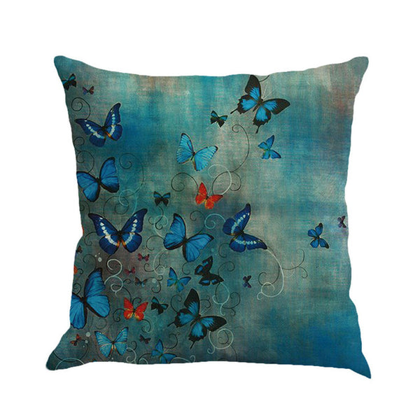 Butterfly Fantasies -- Linen floral cushion covers (blue butterfly fantasy)