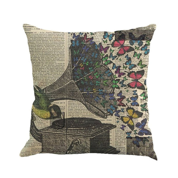 Butterfly Fantasies -- Linen floral cushion covers (gramophone and butterflies)