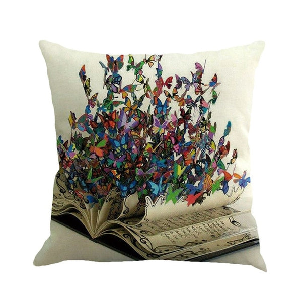 Butterfly Fantasies -- Linen floral cushion covers (butterflies and book)