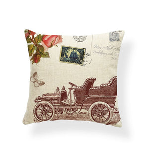 Dragonflies and Butterflies -- Vintage style floral cushion covers (classic car)