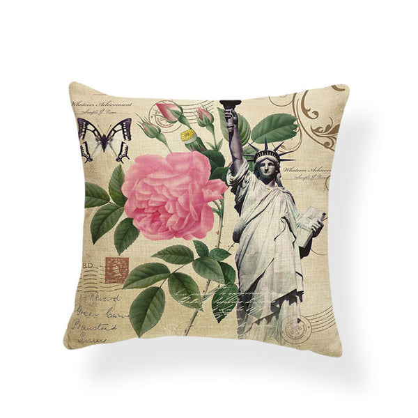 Dragonflies and Butterflies -- Vintage style floral cushion covers (rose and Statue of Liberty)