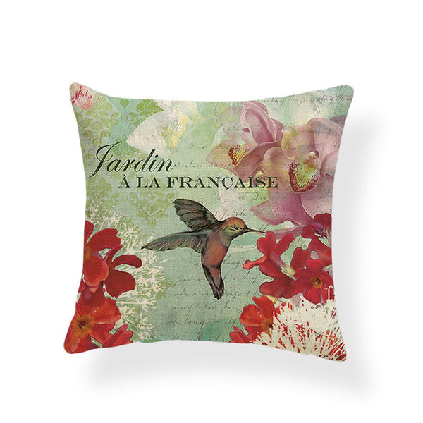 Dragonflies and Butterflies -- Vintage style floral cushion covers (hummingbird)