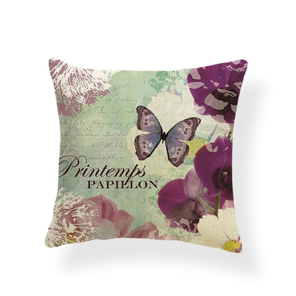 Dragonflies and Butterflies -- Vintage style floral cushion covers  (orchid and butterfly)